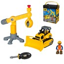 Playset made for basic two hand assembly. Includes  a vehicle, tool, figure and a construction site  machine.  Comes in a storage case with handle for  travel.  Age 3+.