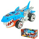 Hot Wheels Sharkuiser motorised vehicle with jaw  chomping action, lights, music and soundFX.  Open  boxed with 'Try Me' function.  Requires 3 x AAA  batteries (included).  Age 3+.