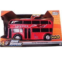 Large motorised London bus - press the buttons for  go action, lights, sounds, music and opening  doors.  Length 27cm.  Requires 3 x AA batteries  (included).  Age 3+.