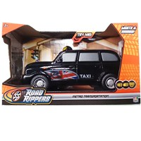 Large motorised black taxi cab.  Press the buttons  for lights, exciting sounds, music and go action!  Length 26cm.  Requires 3 x AA batteries  (included).  Age 3+.