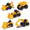 Freewheeling mini Cat machines pack of 5.  Includes backhoe, wheel loader, excavator,  bulldozer and dump truck.  Age 3+.