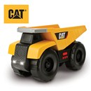 Freewheeling Cat dump truck with rumbling action  that captures the authentic feel of a machine in  motion.  Lift the dump bed to trigger realistic  bed and boom sounds.  Push button for lights,  sound effects and music.  Includes 2 x AA  batteries.  Age 3