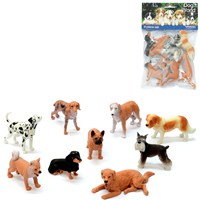 9 assorted plastic pet dog figurines. Age  3+