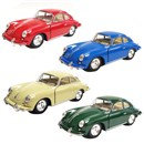 "5"" Diecast metal licenced classic Porsche 356B Carrera with opening doors and pull back and go action. Assorted colours in display box of 12.  Age 3+."
