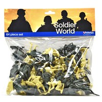 64 assorted Soldier figurines ready to use for roleplay. Assortment of sizes. Age 3+