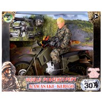 Detailed military action figure dressed in full uniform with over 30 articulated points. Includes a Kawasaki KLR650 and many other accessories.. Height 30.5cm.  1:6 scale  Age 3+.