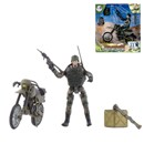 Military Figure with 22 articulated points. Includes mortorbike and various accessories. Height 9.5cm  1:18  scale. Age 3+.