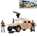 Military Humvee with 2 fully articulated figures. Includes various accessories. Humvee length 26cm. Figure Height 9.5cm.  1:18 scale. Age 3+.