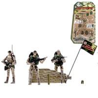 3 Desert Marine figures dressed in uniform with 22 articulated points. Includes various accessories such as control pole, vests, accessory belts and much more  Height 9.5cm. 1:18 scale.  Age 3+.