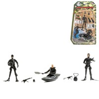 3 Navy Seal figures dressed in uniform with 22 articulated points. Includes various accessories such as canoe, flippers, daggers and much more  Height 9.5cm. 1:18 scale.  Age 3+.