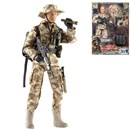 Detailed military action figure dressed in full uniform with over 30 articulated points. Includes a variety of accessories such as binoculars, backpack, hat, gun and much more. Height 30.5cm.  1:6 scale  Age 3+.