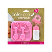 set includes one two piece bottle, one dummy, plate, spoon and fork, five pieces per pack. 18m+