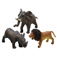 Pack of 3 soft touch wild animals - lion, elephant and rhino (27 - 30cm) 3 years +