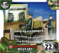 2 military figures with 22 articulated points. Includes Quadbike, wired fencing and various accessories.1:18  scale. Age 3+.