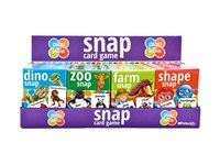 4 assorted Snap card games in display box of 24.  Includes dino snap, zoo snap, farm sanp and shape snap.  With rules. 3+ 4 assorted barcodes5018621251027/5018621251041/5018621251065/5018621251089