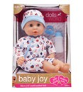 "With a soft body that is just perfect for cuddles and hugs,Baby Joy is the perfect first doll for younger children. With baby blue eyes and a beautiful face, this 38cm (15"") dolly has a bean filled bum that ensures Baby Joy sits up when required - and when it's time for a nap, the eyes close when you lay your baby down to sleep. The dolly is supplied with a deluxe removeable blue romper suit and matching hat, plus a bottle and dummy - so everything you need to ensure a delightful  role play experience. Age 18m+"